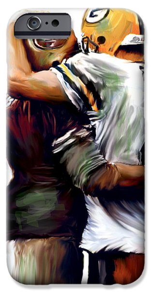 Greatness  Brett Favre and Steve Young  iPhone Case by Iconic Images Art Gallery David Pucciarelli