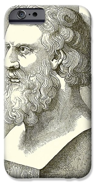 Hair Drawings iPhone Cases - Greek Bust of Plato iPhone Case by English School
