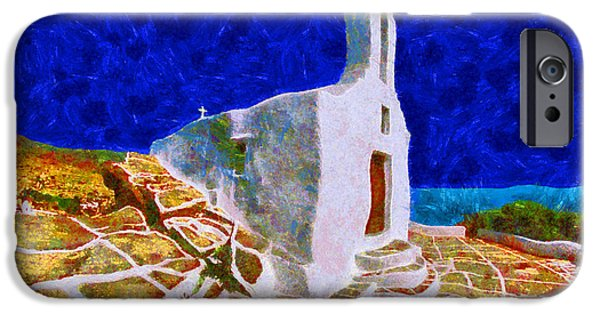 Sea Moon Full Moon Paintings iPhone Cases - Greek Church 5 iPhone Case by George Rossidis