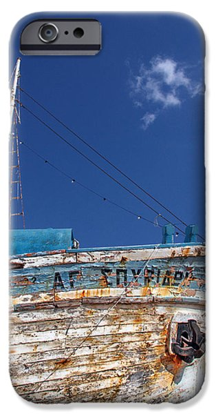 Trawler iPhone Cases - Greek Fishing Boat iPhone Case by Stylianos Kleanthous