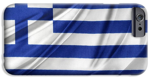 Athens iPhone Cases - Greek flag iPhone Case by Les Cunliffe