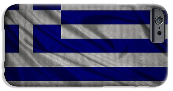 Waving Flag Mixed Media iPhone Cases - Greek flag waving on canvas iPhone Case by Eti Reid