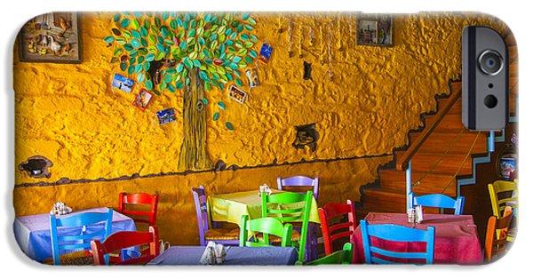 Table Wine iPhone Cases - Greek Taverna iPhone Case by Eleni Mac Synodinos