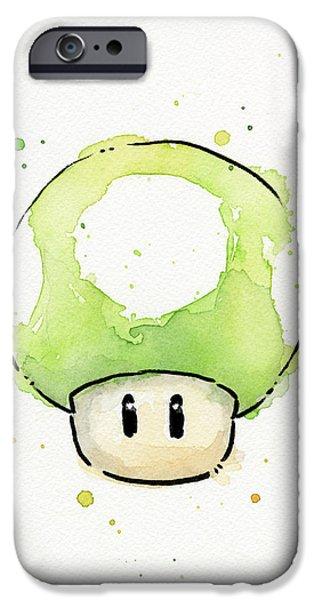 Mushrooms iPhone Cases - Green 1UP Mushroom iPhone Case by Olga Shvartsur