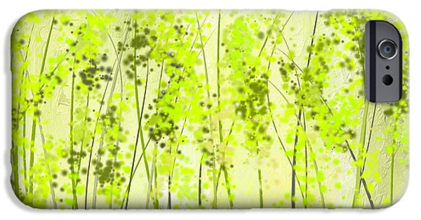 Emerald Green Abstract iPhone Cases - Green Abstract Art iPhone Case by Lourry Legarde