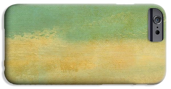 Becky Digital Art iPhone Cases - Green and Beige Texture iPhone Case by Becky Hayes