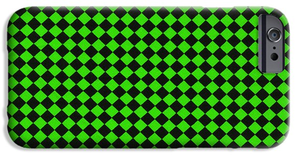 Weave iPhone Cases - Green and Black Checkered Pattern Cloth Background iPhone Case by Keith Webber Jr