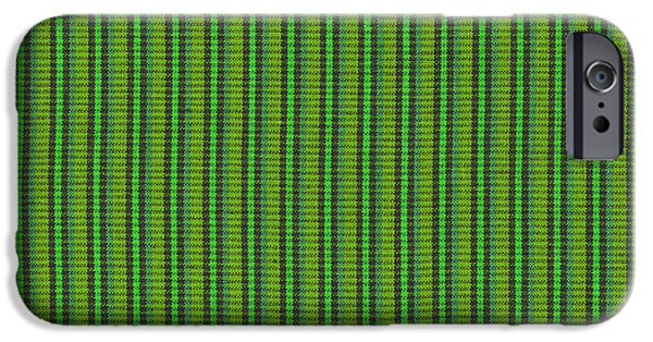 Texture iPhone Cases - Green And Black Striped Fabric Background iPhone Case by Keith Webber Jr