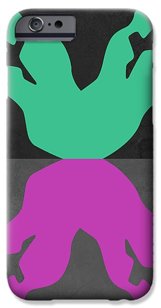 Love Making Paintings iPhone Cases - Green and Purple Kiss iPhone Case by Naxart Studio