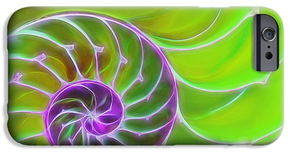 Green Surreal Geometric iPhone Cases - Green and Purple Spiral iPhone Case by Gill Billington