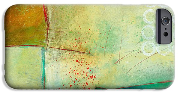 Abstract Collage iPhone Cases - Green and Red 10 iPhone Case by Jane Davies