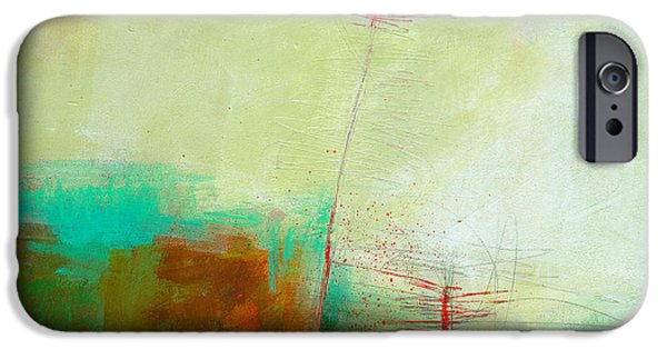 Abstract Collage iPhone Cases - Green and Red 11 iPhone Case by Jane Davies