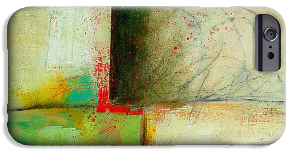 Abstract Collage iPhone Cases - Green and Red 3 iPhone Case by Jane Davies
