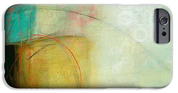 Abstract iPhone Cases - Green and Red 8 iPhone Case by Jane Davies