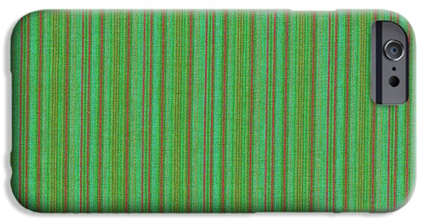 Texture iPhone Cases - Green And Red Striped Fabric Background iPhone Case by Keith Webber Jr