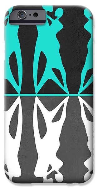 Love Making Paintings iPhone Cases - Green and White Couple dancing iPhone Case by Naxart Studio