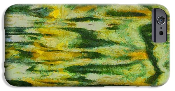 Connect Mixed Media iPhone Cases - Green And Yellow Abstract iPhone Case by Dan Sproul