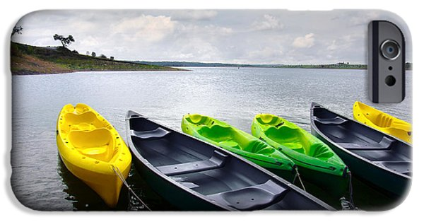 Kayak iPhone Cases - Green and yellow kayaks iPhone Case by Carlos Caetano