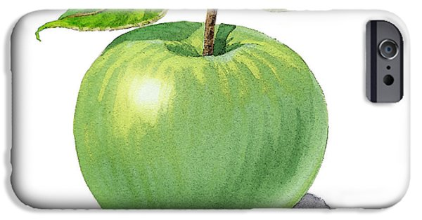 Nature Study Paintings iPhone Cases - Green Apple Still Life iPhone Case by Irina Sztukowski