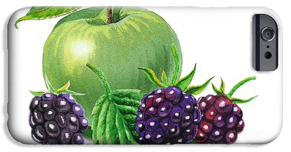 Nature Study Paintings iPhone Cases - Green Apple With Blackberries iPhone Case by Irina Sztukowski