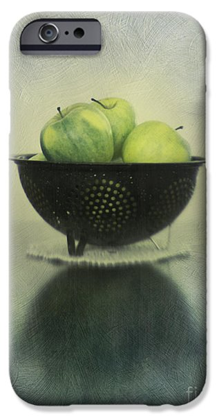 Still Life Photographs iPhone Cases - Green apples in an old enamel colander iPhone Case by Priska Wettstein