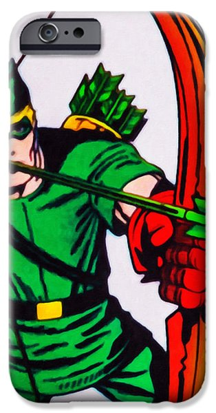 Cut-outs Paintings iPhone Cases - Green Arrow iPhone Case by Lanjee Chee