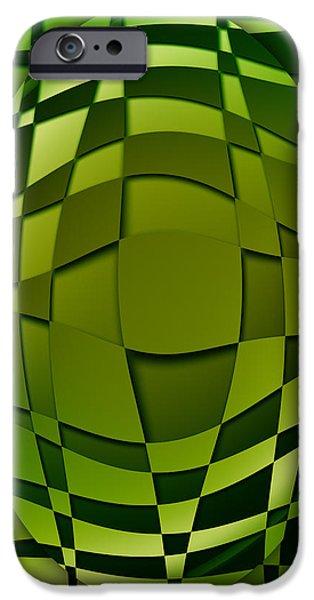 Concept Art iPhone Cases - Green Art iPhone Case by Ludek Sagi Lukac
