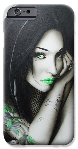 Lips iPhone Cases - Green Ascension iPhone Case by Christian Chapman Art
