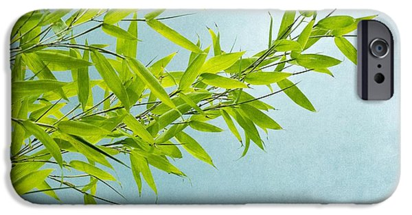 Bamboo Leaves iPhone Cases - Green Bamboo iPhone Case by Priska Wettstein