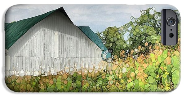 Agriculture Mixed Media iPhone Cases - Green Barn And Cornfield iPhone Case by Dan Sproul