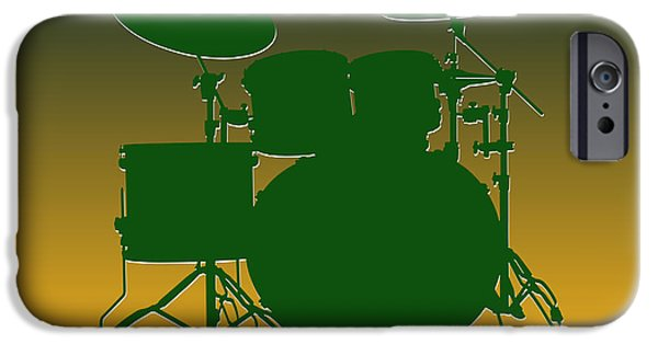 Drum Sets iPhone Cases - Green Bay Packers Drum Set iPhone Case by Joe Hamilton
