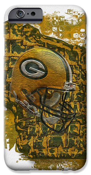 Forms Digital Art iPhone Cases - Green Bay Packers iPhone Case by Jack Zulli