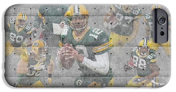 Christmas Card Photographs iPhone Cases - Green Bay Packers Team iPhone Case by Joe Hamilton