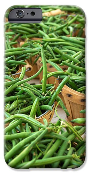 Locally Grown iPhone Cases - Green Beans in Baskets at Farmers Market iPhone Case by Teri Virbickis