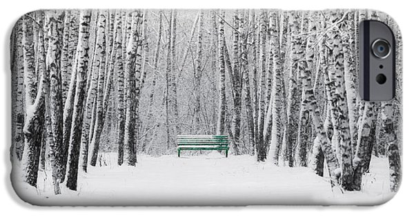 Decorative Benches iPhone Cases - Green Bench iPhone Case by Alexander Senin