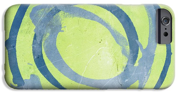 Abstract Expressionism Digital iPhone Cases - Green Blue iPhone Case by Julie Niemela