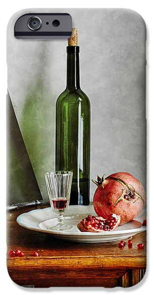 Table Wine iPhone Cases - Green Bottle and Pomegranate  iPhone Case by Nikolay Panov