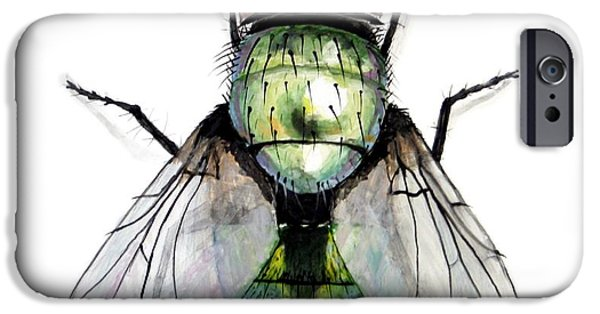 Creepy Ceramics iPhone Cases - Green Bottle Housefly iPhone Case by Nathan Ryan