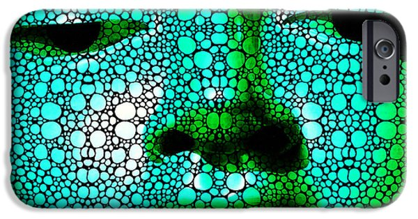 Yin iPhone Cases - Green Buddha - Stone Rockd Art By Sharon Cummings iPhone Case by Sharon Cummings