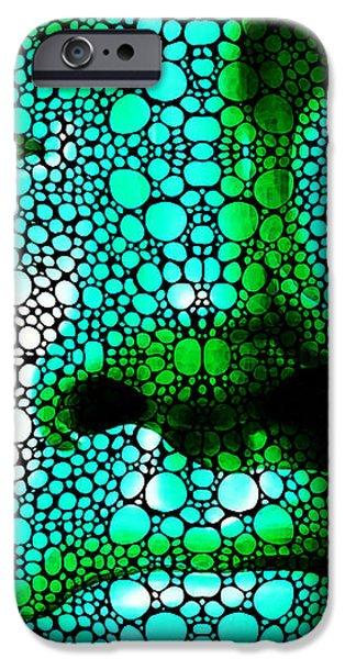 Green Buddha - Stone Rock'd Art By Sharon Cummings iPhone Case by Sharon Cummings