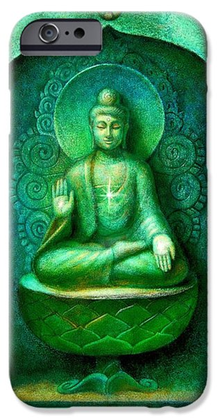 Buddhist Paintings iPhone Cases - Green Buddha iPhone Case by Sue Halstenberg