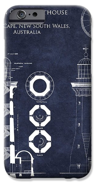 Lighthouse iPhone Cases - Green Cape Lighthouse Blueprint iPhone Case by Sara Harris