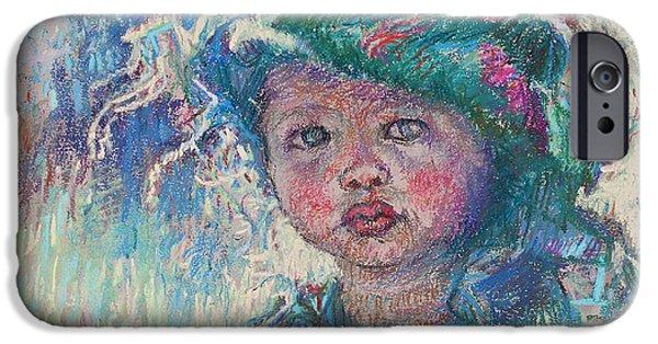 Children Pastels iPhone Cases - Green Child iPhone Case by Ellen Dreibelbis