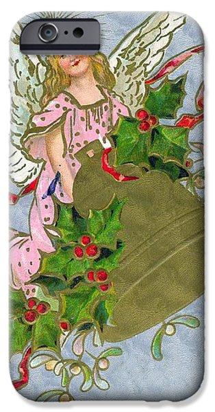 Little Girl iPhone Cases - Green Christmas Bell iPhone Case by Unknown