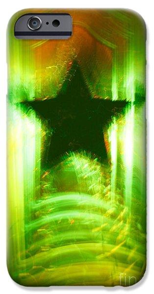 Green Christmas star iPhone Case by Gaspar Avila