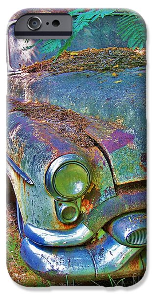 Old Cars iPhone Cases - Green iPhone Case by Chuck  Hicks