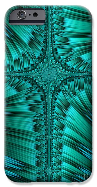 Fractal iPhone Cases - Green Cross Abstract iPhone Case by John Edwards