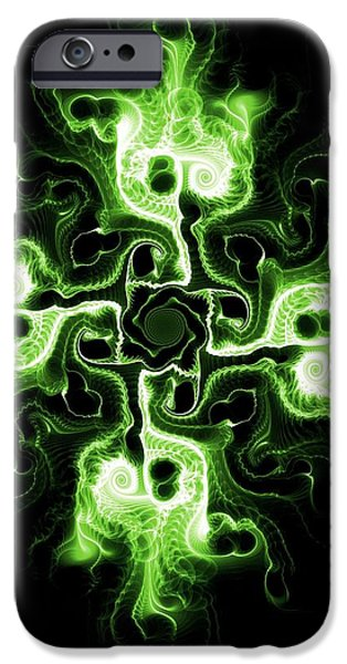 Fiery iPhone Cases - Green Cross iPhone Case by Anastasiya Malakhova