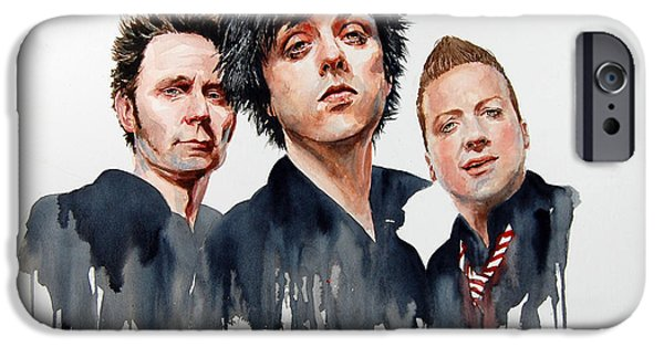Green Day Paintings iPhone Cases - Green Day iPhone Case by Penny Crichton-Seager