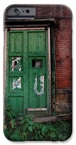 Green Door on Red Brick Wall iPhone Case by Amy Cicconi
